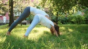 Fostra och hennes lilla gulliga dotter som tillsammans gör yogaövning stock video