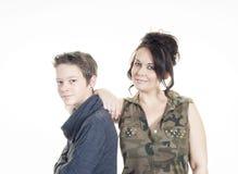 Fostra och sonen Royaltyfri Foto