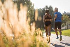 Fostra skottet av par som in joggar, parkerar tillsammans Royaltyfri Bild