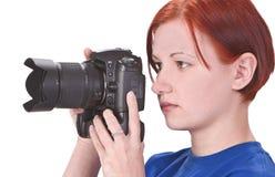 Fotógrafo adolescente de la muchacha Imagen de archivo