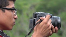 Fotógrafo adolescente de sexo masculino de la afición Imagen de archivo
