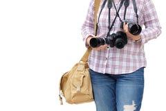 Fotógrafo amador da mulher que ama tomar a fotografia fotografia de stock