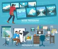 Fotógrafo Banner Set Imagens de Stock