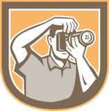 Fotógrafo Camera Shield Retro Fotografia de Stock