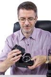 Fotógrafo com equipamento imagem de stock