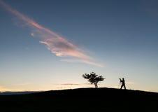 Fotógrafo con el trípode en silueta con el árbol Imagenes de archivo