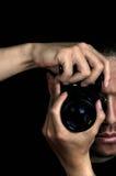 Fotógrafo con la cámara Foto de archivo libre de regalías