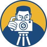 Fotógrafo con la cámara retra libre illustration