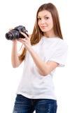FOTÓGRAFO DA MULHER Imagens de Stock