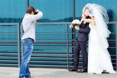 Fotógrafo de la boda Foto de archivo libre de regalías