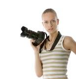 Fotógrafo de la muchacha Imagen de archivo