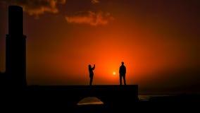 Fotógrafo de la puesta del sol en Van Fortress Imagenes de archivo