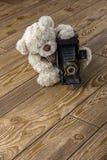 Fotógrafo de los osos de peluche de la felpa Imagen de archivo