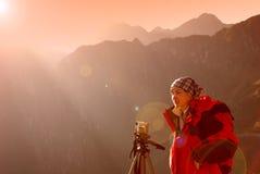 Fotógrafo de Macchu Pichu Imagem de Stock Royalty Free