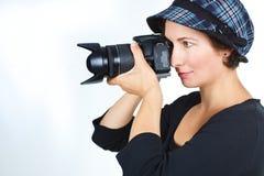 Fotógrafo de sexo femenino fotografía de archivo libre de regalías