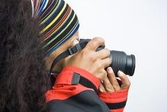 Fotógrafo de sexo femenino Imagen de archivo