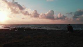 Fotógrafo de sexo femenino apuesto joven que se sienta en la costa rocosa y que toma las fotos de la puesta del sol hermosa rosad almacen de video