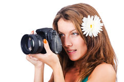 Fotógrafo de sexo femenino atractivo Fotos de archivo libres de regalías