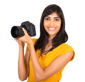 Fotógrafo de sexo femenino indio Fotografía de archivo