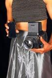 Fotógrafo de sexo femenino negro imagenes de archivo