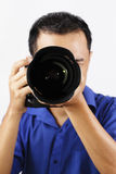 Fotógrafo de sexo masculino Imagen de archivo libre de regalías