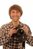 Fotógrafo de sexo masculino feliz Fotos de archivo libres de regalías