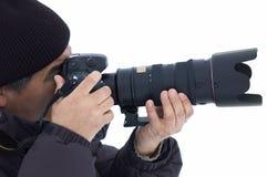 Fotógrafo del invierno aislado Imágenes de archivo libres de regalías