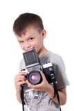 Fotógrafo del muchacho de la belleza Fotografía de archivo