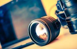 Fotógrafo Desk Lenses imagen de archivo libre de regalías