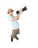 Fotógrafo divertido del hombre que hace la imagen por la cámara Imagen de archivo