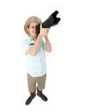 Fotógrafo divertido del hombre que hace la imagen por la cámara Fotos de archivo