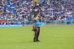 Fotógrafo do esporte na liga de Diamon Foto de Stock