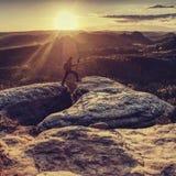 Fotógrafo do homem que olha no vale O homem tomará a foto foto de stock
