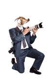 Fotógrafo do negócio com cabeça da cabra Fotografia de Stock