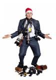 Fotógrafo do negócio com muitas câmeras da foto Fotografia de Stock Royalty Free