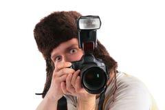 Fotógrafo do russo no chapéu forrado a pele foto de stock