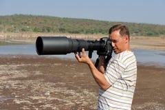 Fotógrafo dos animais selvagens Fotografia de Stock Royalty Free