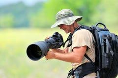 fotógrafo dos animais selvagens ao ar livre Foto de Stock