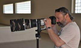 Fotógrafo dos esportes profissionais fotografia de stock