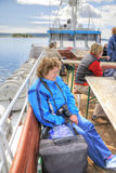 Fotógrafo em um barco Foto de Stock