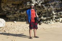 Fotógrafo en la playa Imagen de archivo libre de regalías