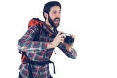 Fotógrafo feliz que toma a imagem imagens de stock royalty free