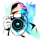 Fotógrafo, fundo colorido da forma Fotografia de Stock Royalty Free