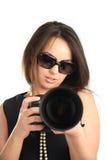 Fotógrafo hermoso de la muchacha imagen de archivo