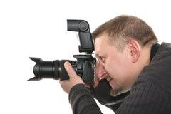 Fotógrafo isolado no branco foto de stock royalty free