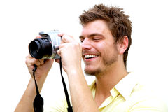 Fotógrafo joven con la cámara Fotos de archivo