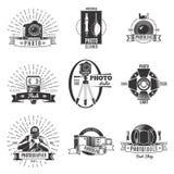 Fotógrafo Label Set del vintage stock de ilustración