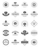 Fotógrafo Logo Templates Set Estilo del vintage del elemento del diseño del vector para el logotipo ilustración del vector