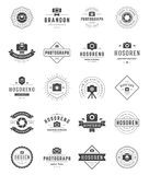 Fotógrafo Logo Templates Set Estilo do vintage do elemento do projeto do vetor para o Logotype Foto de Stock Royalty Free