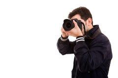 Fotógrafo masculino novo fotografia de stock